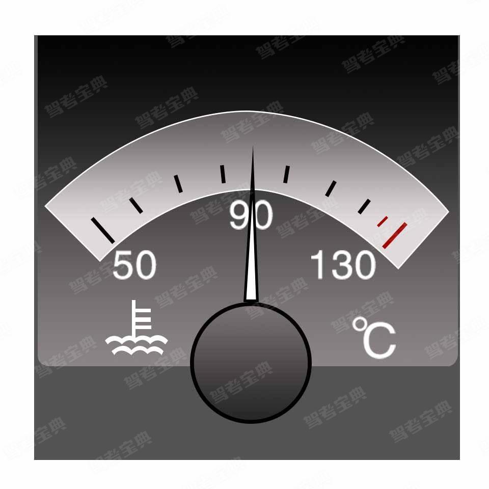 仪表显示当前冷却液的温度是90度。