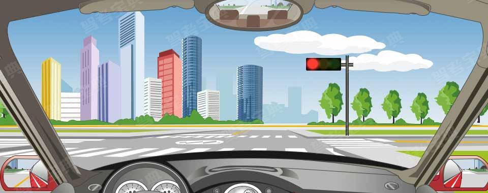 驾驶机动车行驶到这个位置时,如果车前轮已越过停止线可以继续通过。