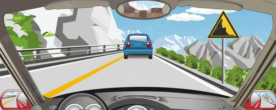 右侧这个标志提醒注意前方是傍山险路。