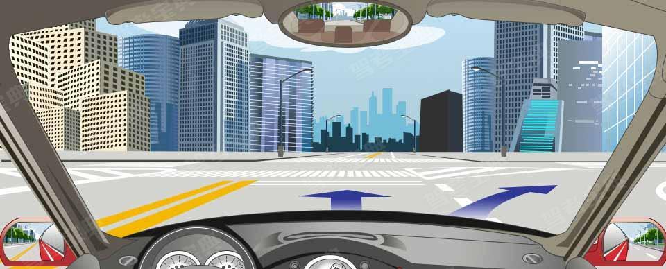 路口两侧导流线表示直行或右转弯不得压线或越线行驶。
