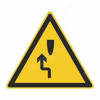 这个标志的含义是告示前方道路有障碍物,车辆左侧绕行。
