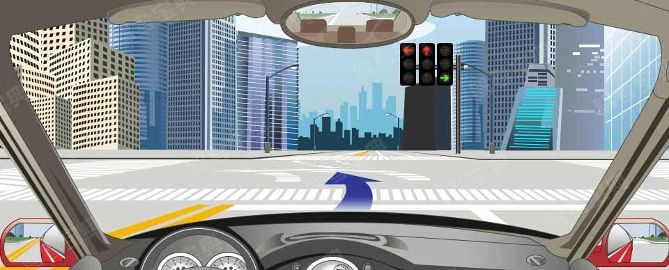 如下图,左转弯车辆可直接进入左转弯待转区,等待放行信号。