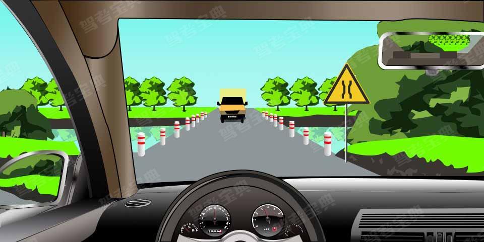 如图所示,驾驶机动车在窄桥上会车,选择的交会位置不理想时,以下做法正确的是什么?