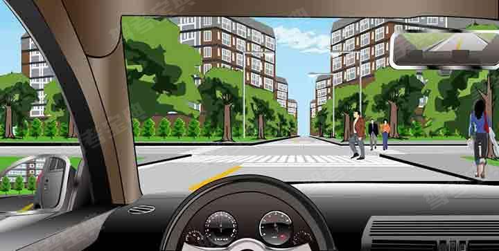 如图所示,机动车遇行人正在通过人行横道时,要停车让行,是因为行人享有优先通过权。