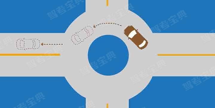 如图所示,驾驶机动车驶出这个路口时应当怎样使用灯光?