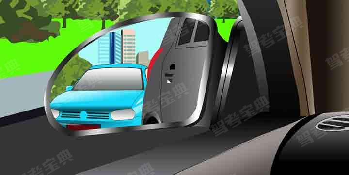 驾驶机动车在向左变更车道前,通过左后视镜看到图中情形时,以下做法正确的是什么?