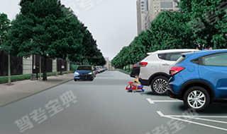 在社区道路行车,遇到前方有儿童突然出现时(如图所示),教练员应及时提示学员___。