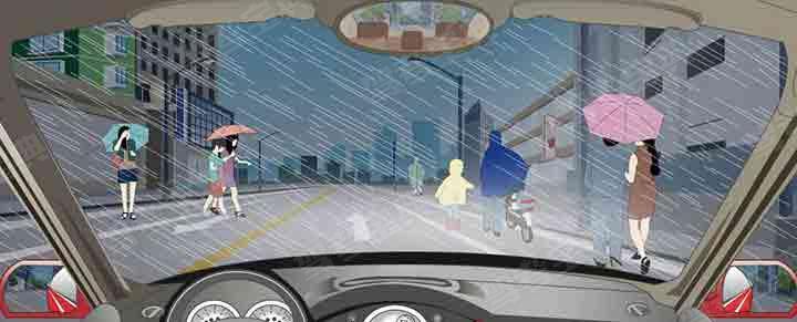 雨天遇到这些撑雨伞和穿雨衣的行人在路边行走怎样通行?