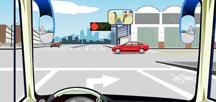 驾驶机动车在这个路口怎样右转弯行驶?