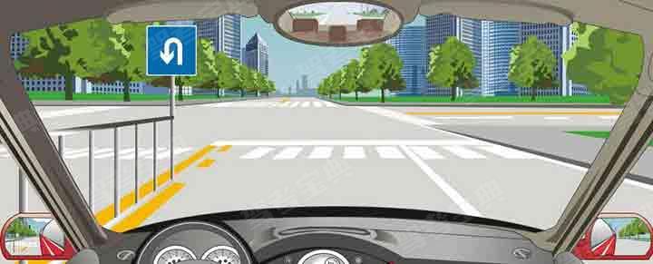 行驶到这个路口可以压斑马线掉头。