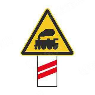 如圖所示,這個標志設置在有人看守的鐵道路口,提示駕駛人距有人看守的鐵路道口的距離還有100米。