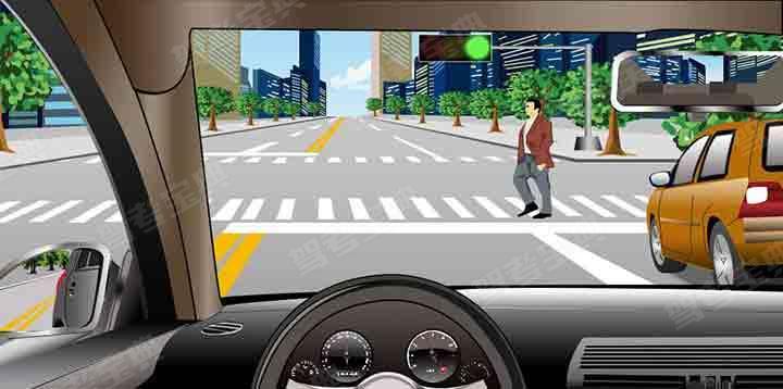 如图所示,在这种情况下,驾驶机动车要停车让行。