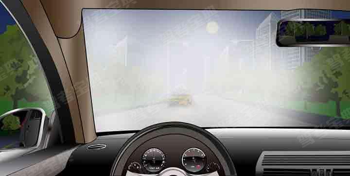 如圖所示,夜間駕駛機動車遇對方使用遠光燈,無法看清前方路況時,以下做法正確的是什么?