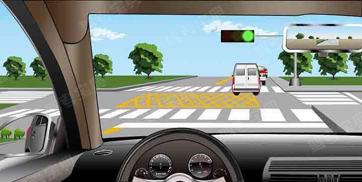 如圖所示,駕駛機動車直行遇前方道路堵塞時,車輛可以在黃色網格線區域臨時停車等待,但不得在人行橫道停車。