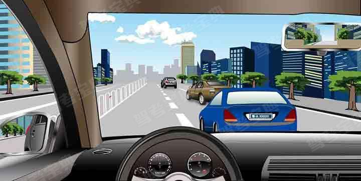 如图所示,驾驶机动车遇到右侧车道车辆突然变更车道时,应当如何避让?