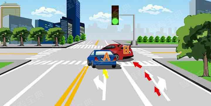 如图所示,A车在交叉路口左转时遇到B车强行超越,以下做法错误的是什么?