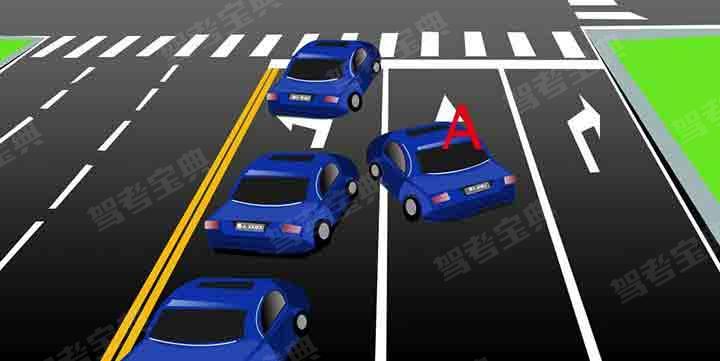 如图所示,机动车A的行为是正确的。