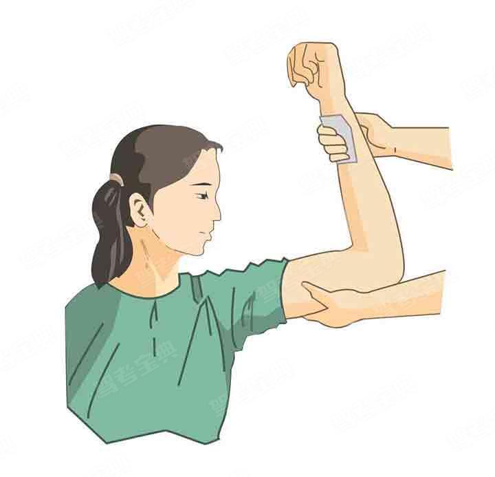 使用图中所示的肱动脉压迫止血法止血时,压迫点位于哪里?