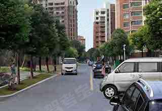 如图所示,驾驶机动车遇到这种情况时,应减速或停车,待前方车辆通过后再通行。