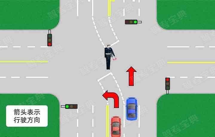 如图所示,交通警察左臂向左下方平伸,掌心向下,左臂与手掌平直向下方摆动。该手势信号示意车辆驶入左转弯待转区。