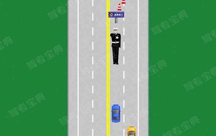 如图所示,交通警察右臂向前平伸,掌心向左,并向左水平摆动。该手势信号示意车辆腾空指定的车道,减速慢行。