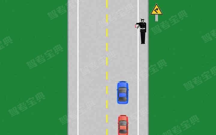 如图所示,交通警察右臂向前方平伸,掌心向下,并平直向下方摆动。该手势信号示意车辆应迅速靠边停车。