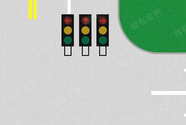 如图所示,车道信号灯表示___。(所有红色箭头灯都点亮)