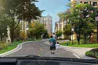 在社区道路行车,遇到前方行人占道行走时(如图所示),教练员应提示学员___。