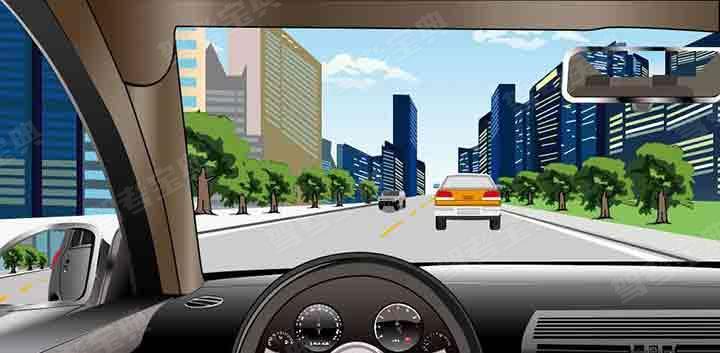 如图所示,当与对向车辆有会车可能时,不得超车。