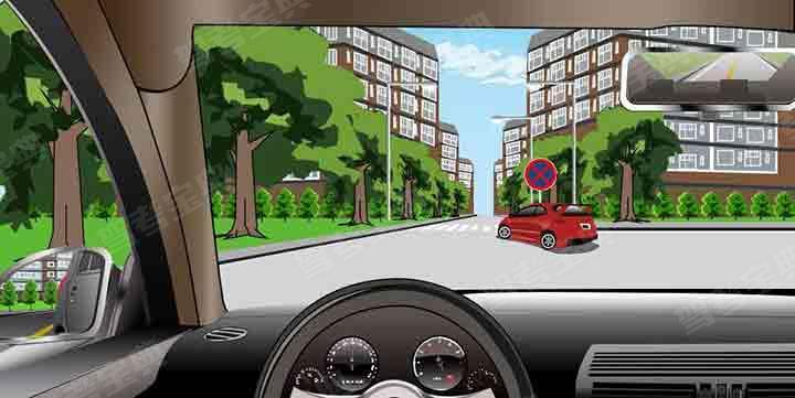 如图所示,红色汽车在此地点停车等候是违法行为。