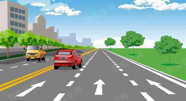 这段道路红车所在车道是什么车道?