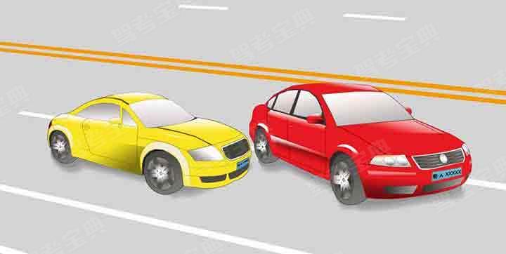 這輛紅色轎車變更車道的方法和路線是正確的。