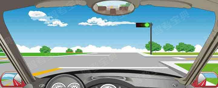 驾驶机动车在路口遇到这种信号灯亮时,要在停止线前停车瞭望。
