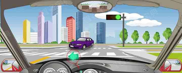 驾驶机动车遇到这种信号灯,可在对面直行车前直接向左转弯。
