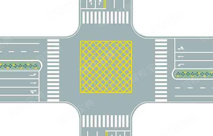 图中路口中央黄色路面标记是什么标线?