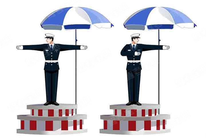 这一组交通警察手势是什么信号?