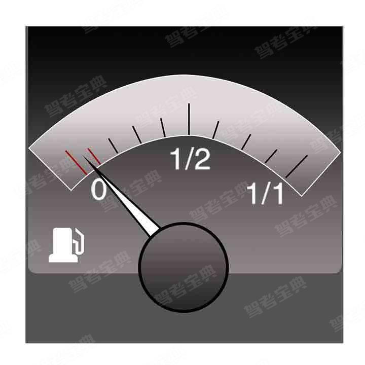 仪表显示油箱内存油量已在警告线以内。