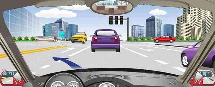 驾驶机动车在这个路口左转弯要提前按导向箭头指示向左变更车道。