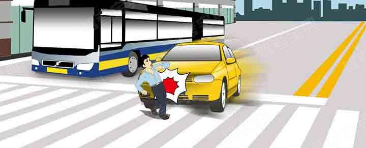 造成这起事故的主要原因是行人从车前横穿。