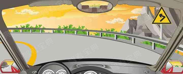 右侧标志警告前方道路是向左连续弯路。