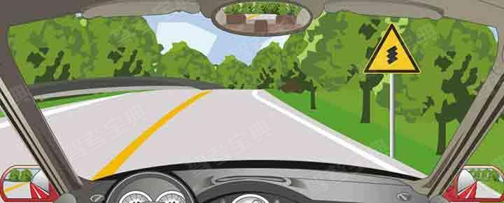右侧标志警告前方是向右反向弯路。