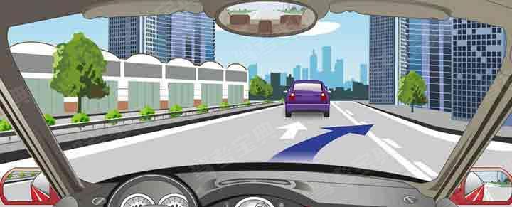 路面白色虚实线指示实线一侧允许跨越。
