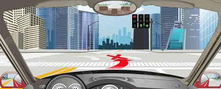 如下图,左转弯车辆不可以直接进入左转弯待转区,等待放行信号。