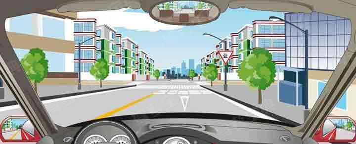 前方路口减速让行线表示要停车让干道车先行。