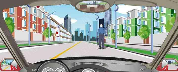 驾驶机动车遇到这种情况的行人可连续鸣喇叭催其让道。