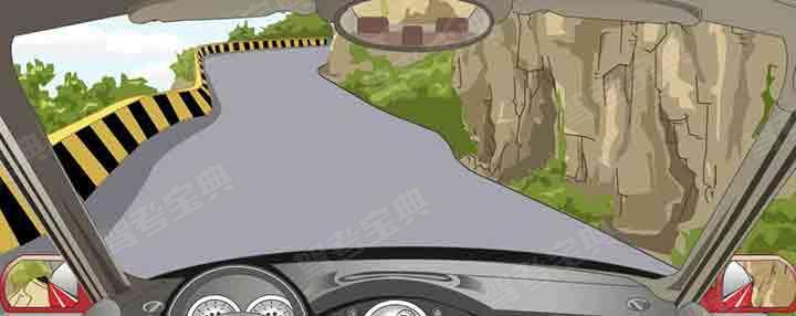 驾驶机动车通过这种傍山险路要靠右侧行驶。